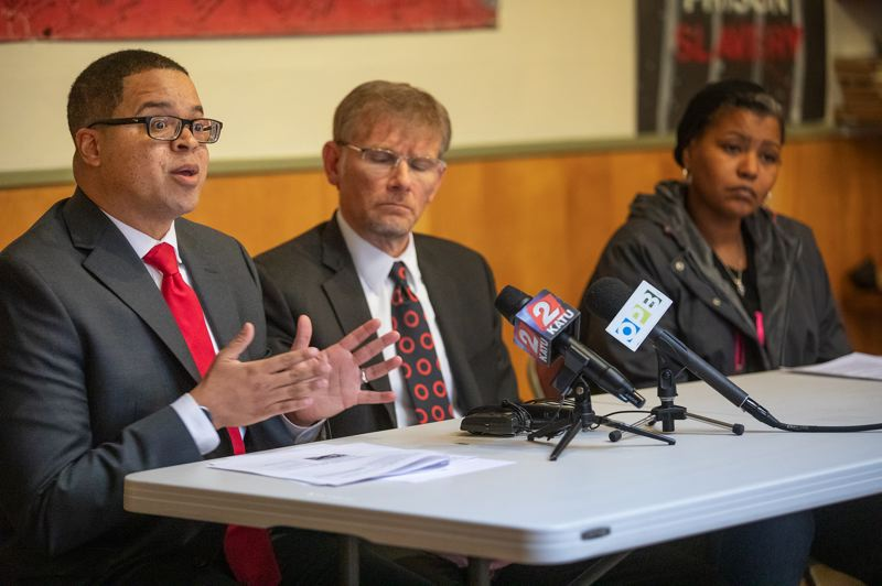 PAMPLIN MEDIA GROUP: JONATHAN HOUSE - Audit Manager Andrew Love, left, speaks along with State Audits Director Kip Memmott, center, and activist Teressa Raiford during a Wednesday press conference discussing a state audit of the Oregon Department of Education and Portland Public Schools.