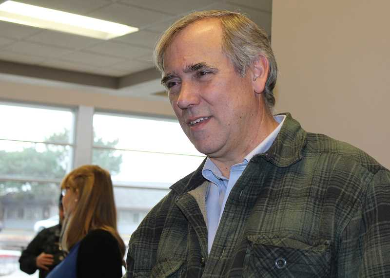 HOLLY M. GILL/MADRAS PIONEER - U.S. Sen. Jeff Merkley visits with people at the Madras Performing Arts Center on Jan. 4, following his town hall meeting.