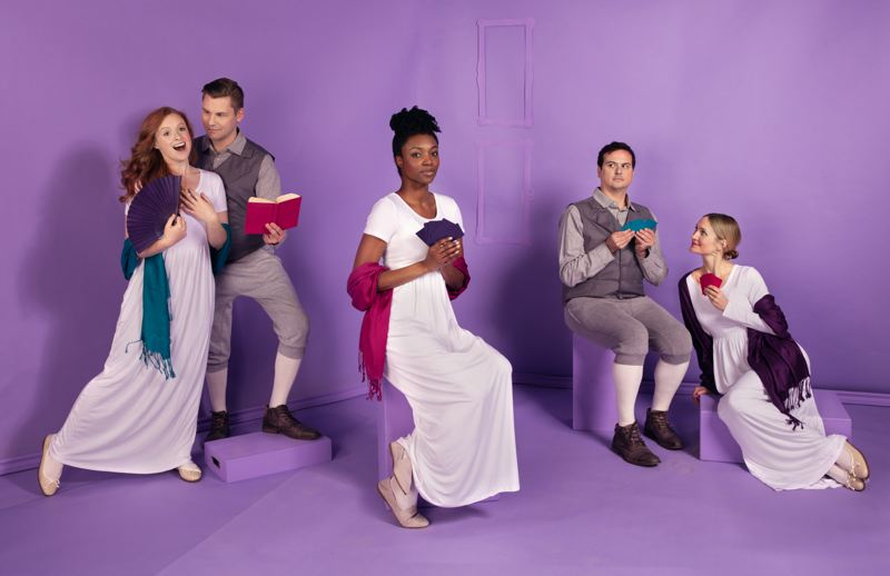 COURTESY: KATE SZROM/PORTLAND CENTER STAGE - 'Sense & Sensibility' at The Armory will star (from left) Quinlan Fitzgerald as Marianne Dashwood, Chris Murray as John Willoughby, Danea C. Osseni as Elinor Dashwood, Jamie Smithson as Edward Ferrars and Kelly Godell as Lucy Steele.