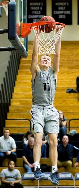 PHOTO COURTESY OF GFU - Sophomore guard Ryan Lacey puts an exclamation point on GFU's 122-93 win over Pacific Saturday evening.