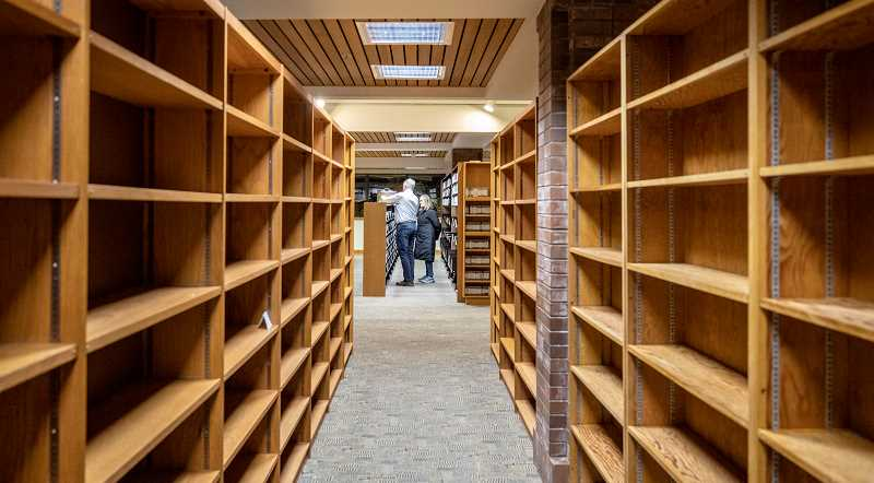 REVIEW PHOTO: JONATHAN HOUSE - Empty bookshelves indicate where renovations will be taking place at the Lake Oswego Public Library.