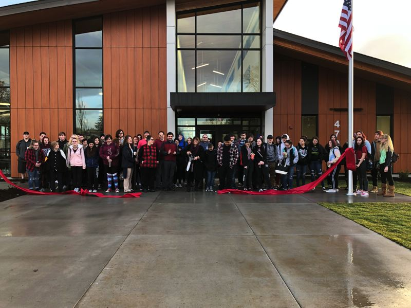 PHOTO COURTESY OF THE ST. HELENS SCHOOL DISTRICT - Students and staff at Columbia County Education Campus held a soft ribbon-cutting ceremony on Monday, Jan. 7, before stepping foot in the brand new alternative high school building, which was recently completed. Construction for the new building has been underway since early 2017.