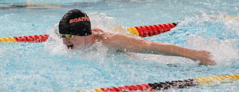 SPOTLIGHT PHOTO: MILES VANCE - Nash Wilson of Scappoose High collected a victory in the 200 individual medley during the Indians'  dual meet with La Salle Prep.