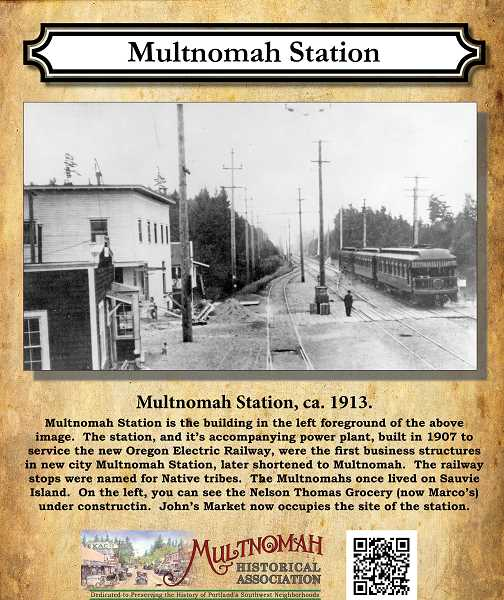 This plaque tells the story and shows the picture of the electric railway station located where John's Marketplace now stands.