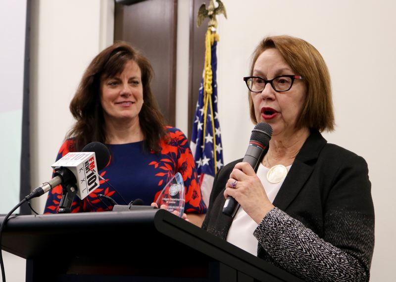 TRIBUNE PHOTO: ZANE SPARLING - Oregon Attorney General Ellen Rosenblum speaks during the first-annual honors ceremony for human trafficking prevention on Friday, Jan. 11 in Portland.