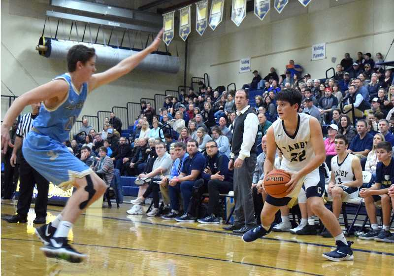 HERALD PHOTO: TANNER RUSS - Canby sophomore Diego Arredondo had 19 points, leading scoring for both teams, and shot 63 percent from the field.