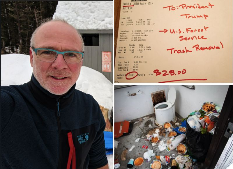 COURTESY PHOTOS - Gov. Kate Brown's husband, Dan Little, is shown here in a selfie taken at the Mt. Hood Sno-Park, as well as images of a receipt for the trash removal and a picture of an uncleaned bathroom.