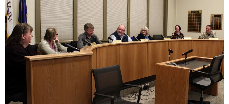 STAFF PHOTO: OLIVIA SINGER - Banks City Council members during a meeting Tuesday evening, Jan. 8.