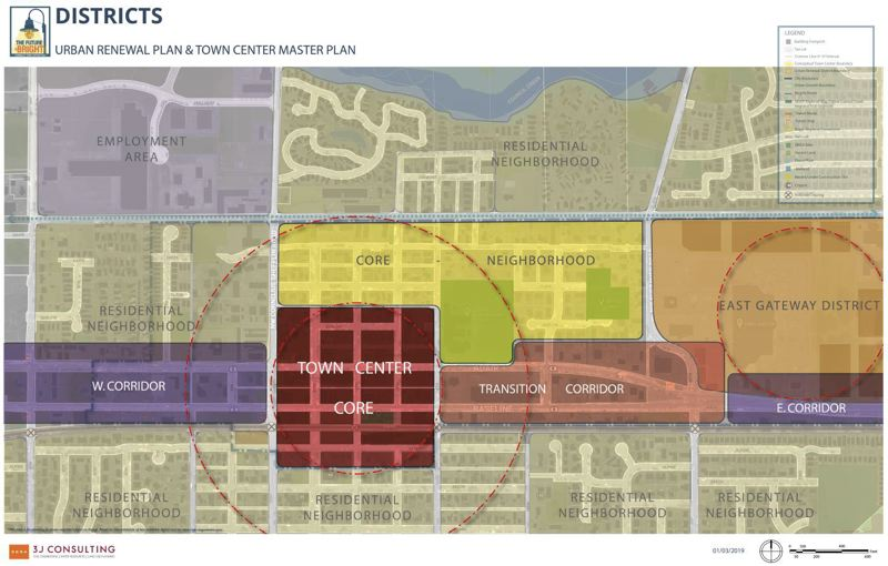 COURTESY MAP: CITY OF CORNELIUS - Cornelius town center project planners have conceptually divided the planning area into sub-districts, anchored by a quadrilateral core area, shown in dark red.