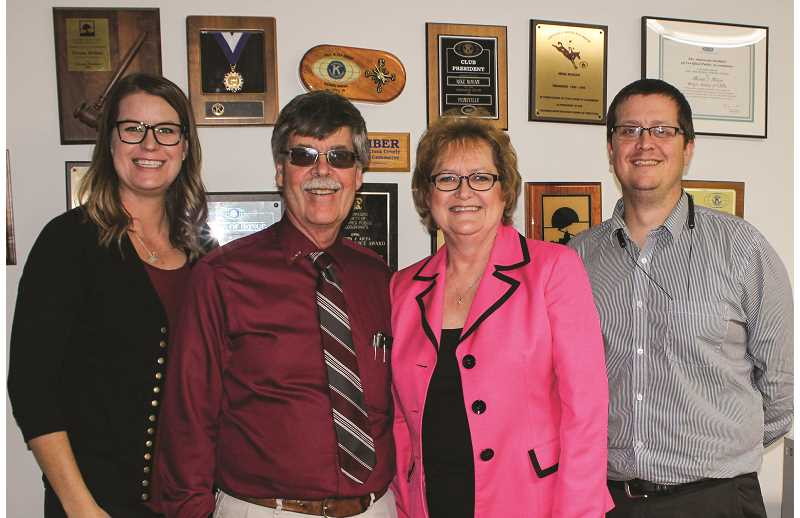HOLLY SCHOLZ/CENTRAL OREGONIAN - Michael J. Mohan, CPA opened in Prineville 35 years ago last month. Owners Mike and Donna Mohan employ their two children. Pictured left to right: Lauren Klontz, Mike Mohan, Donna Mohan and Justin Mohan.