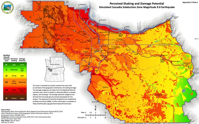COURTESY MAP: OREGON DEPARTMENT OF GEOLOGY AND MINERAL INDUSTRIES - A color-coded map shows that of the three major counties in the Portland metropolitan area, Washington County is forecast to be the hardest hit by a major earthquake in the offshore Cascadia subduction zone.