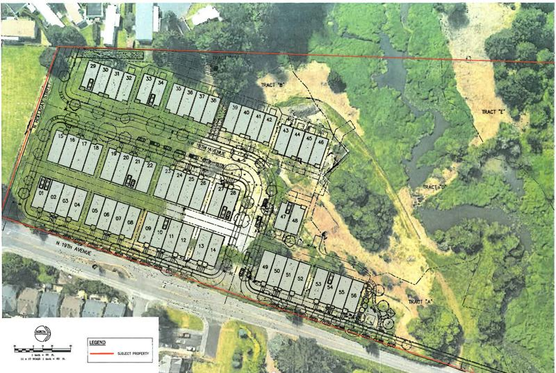 COURTESY MAP: CITY OF CORNELIUS - A site map shows the proposed layout of a 56-lot subdivision called Council Creek Terrace in Cornelius, along North 19th Avenue.