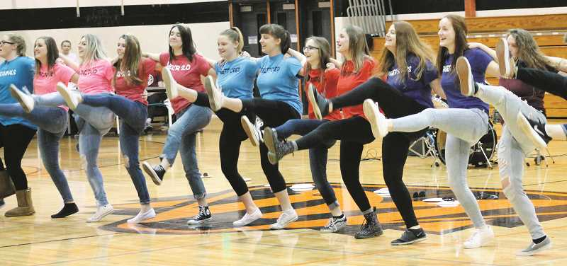 PAMPLIN FILE PHOTO: CONNER WILLIAMS - Students at Molalla High perform a dance during the Share the Love closing assembly.