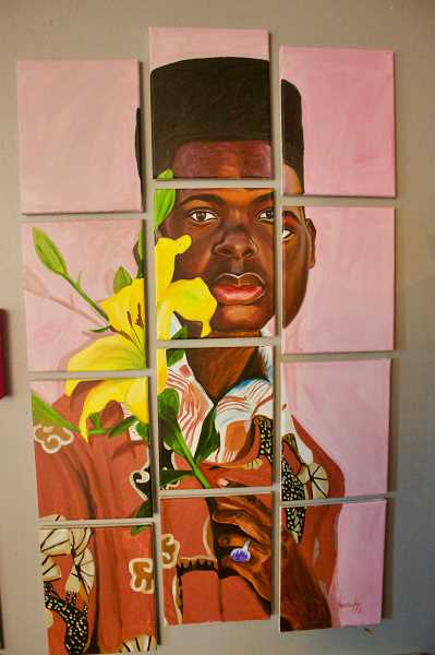 OUTLOOK PHOTO: CHRISTOPHER KEIZUR - This painting by Kye Quaicoe included a flower to showcase how his friend has blossomed after years of being bullied in school.