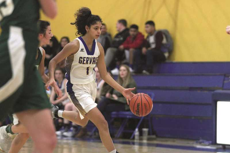 PHIL HAWKINS - Gervais sophomore Celi Vasquez hit six 3-pointers, including the game-winner in a 39-38 victory over No. 9 Santiam on Jan. 7.