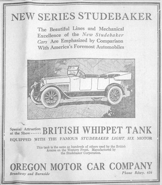 PORTLND TRIBUNE: JONATHAN HOUSE - An advertisement for the Studebaker in the 1919 Oregon Auto Show program.