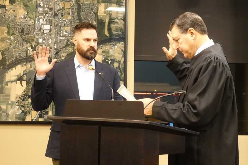 SUBMITTED PHOTO: CITY OF WILSONVILLE - Wilsonville City Councilor Ben West was sworn in Monday, Jan. 7.