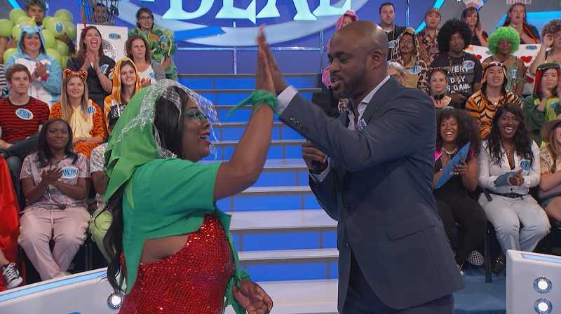 COURTESY PHOTO - Strusinski with her idol, Wayne Brady, during a taping of 'Let's Make a Deal.'