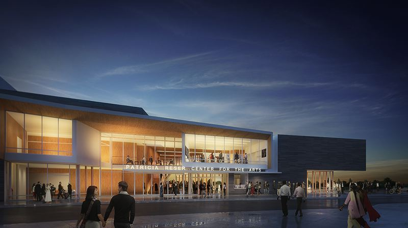 COURTESY: CITY OF BEAVERTON - An artist's conception of the front of the proposed Patricia Reser Center for the Arts in central Beaverton. Fundraising is $6.5 million short of the ultimate goal of $46 million.