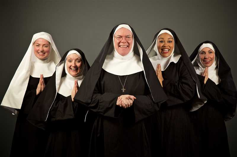 PHOTO COURTESY OF CRAIG MITCHELLDYER - Malia Tippets, Laura McCulloch, Dan Murphy, AntonÍa Darlene, and Danielle Valentine in Nunsense at Broadway Rose Theatre Company, Jan. 24 - Feb. 24.
