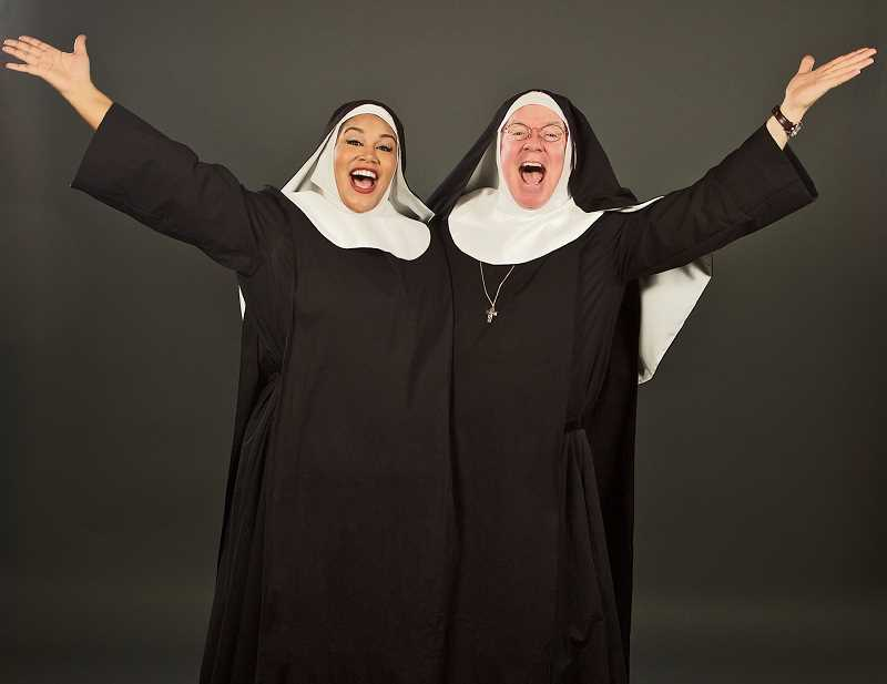 PHOTO COURTESY OF CRAIG MITCHELLDYER - AntonÍa Darlene and Dan Murphy in Nunsense at Broadway Rose Theatre Company, Jan. 24 - Feb. 24.