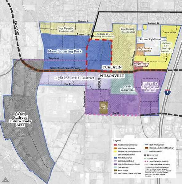 COURTESY CITY OF TUALATIN - Here are plans on how the Basalt Creek area will be divided.
