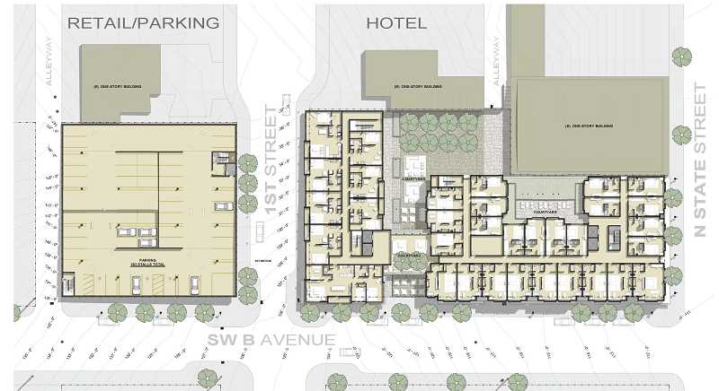 PHOTO COURTESY OF STURGEON DEVELOPMENT PARTNERS - Concept drawings presented to the Lake Oswego City Council on Tuesday show where a proposed boutique hotel and above-ground parking/retail building would be located.