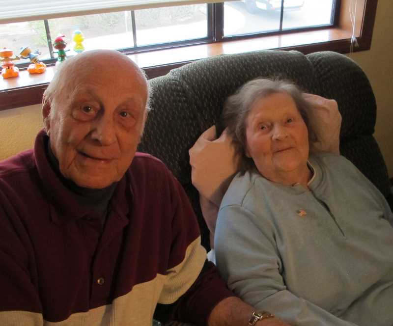 CONNECTION PHOTO BY BILL GALLAGHER - Jim and Helen Pasqualone celebratred their 70th wedding anniversary in December.  Shown here at Helen's aparment.