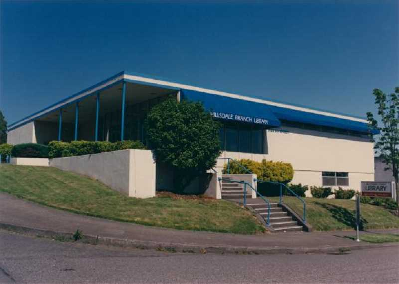 PHOTO COURTESY OF MULTNOMAH COUNTY LIBRARY - This shows the front of the library at 1515 SW Sunset Boulevard.  This building closed in 2001.  The current library building opened on March 4, 2004.