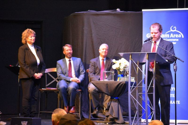 OUTLOOK PHOTO: STEVE BROWN - Rob Hendrickson of State Farm Insurance, far right, received the Small Business Award.