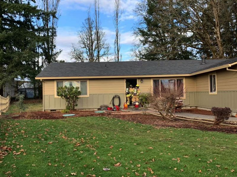 PHOTO COURTESY OF COLUMBIA RIVER FIRE AND RESCUE - Columbia River Fire and Rescue and Scappoose Rural Fire Protection District crews responded to an attic fire in the 5600 block of South Morse Road in Warren on Wednesday, Jan. 16.