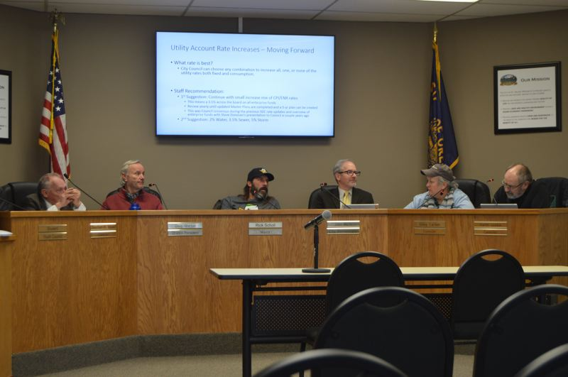 SPOTLIGHT PHOTO: NICOLE THILL-PACHECO - The St. Helens City Council discusses utility rate changes during a work session Wednesday, Jan. 16. The council will likely raise utility rates, which include water, sewer and storm water rates, for city users later this year. It is expected to host a public forum on the topic in February.