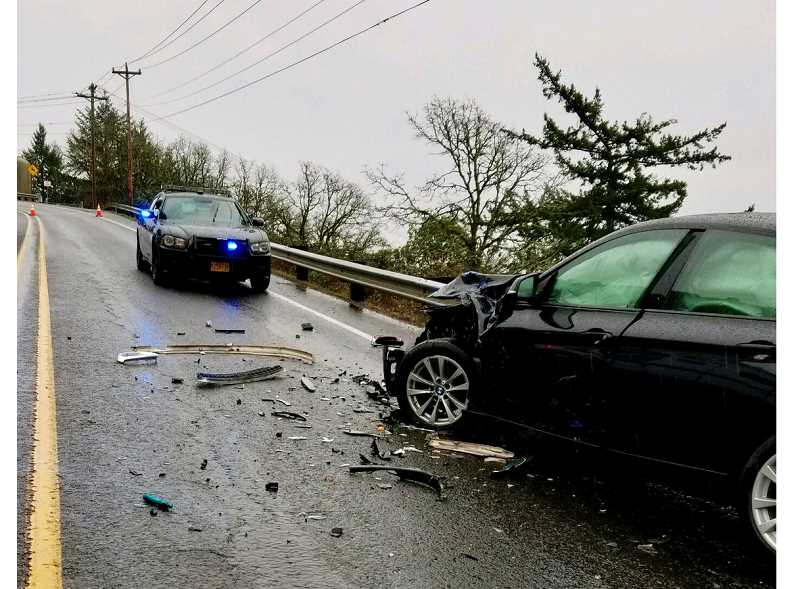SUBMITTED PHOTO - Three were hospitalized Friday afternoon after a two-vehicle crash that may have involved drunk driving.