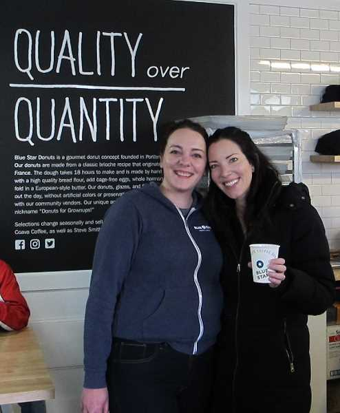 Jessica Kulp (l) and Katie Poppe (r) the owqner of Blue Star.  On the postponement of the grand opening, she otld the SW Connection, 'I was so worried that people were going to be angry and upset with us.  I didn't really mean to be such a tease.'