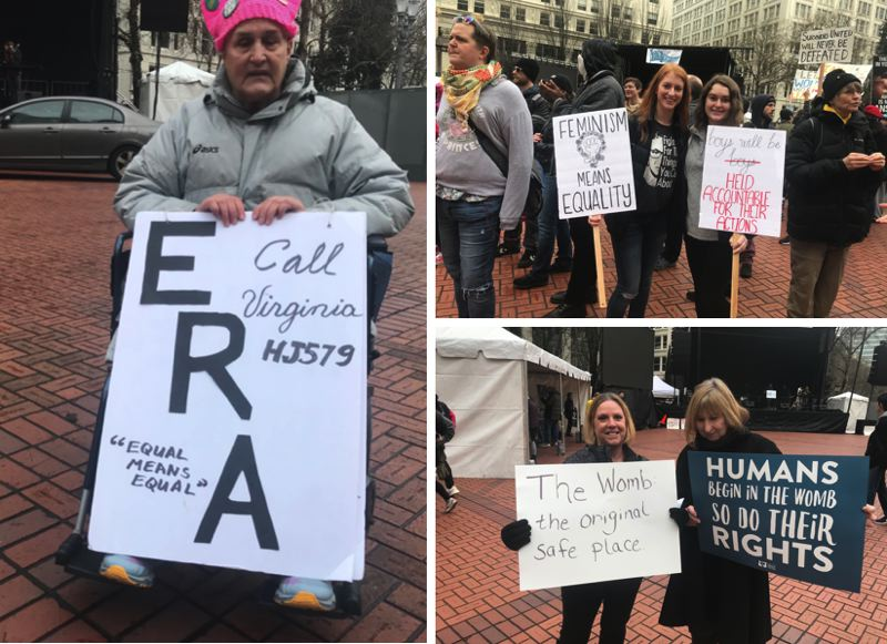 TRIBUNE PHOTOS: ZANE SPARLING - Mary Whitmore, left, held a sign advocating for the Equal Rights Amendment; Arianna and Carly, top right, also attended the Women's March on Jan. 19. Gwen and Judy, bottom right, attended a rally sponsored by Oregon Right to Life.
