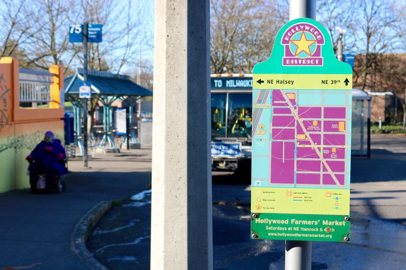 TRIBUNE PHOTO: ZANE SPARLING - A sign at the Northeast 42nd Avenue Transit Center directs riders around the Hollywood neighborhood of Portland.