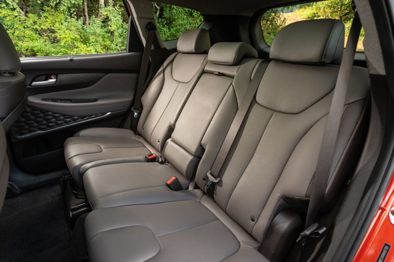 HYUNDAI MOTOR AMERICA - The rear seats in the 2019 Hyundai Santa Fe are surpringly large for a compact crossover.
