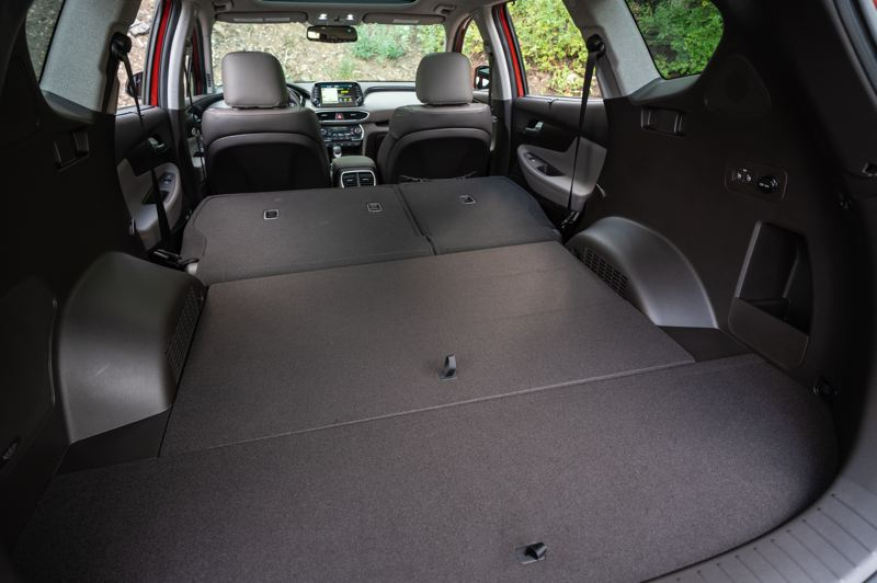 HYUNDAI MOTOR AMERICA - There is nearly 72 cubic feet of cargo space in the 2019 Hyundai Santa Fe with the rear seats folded down.