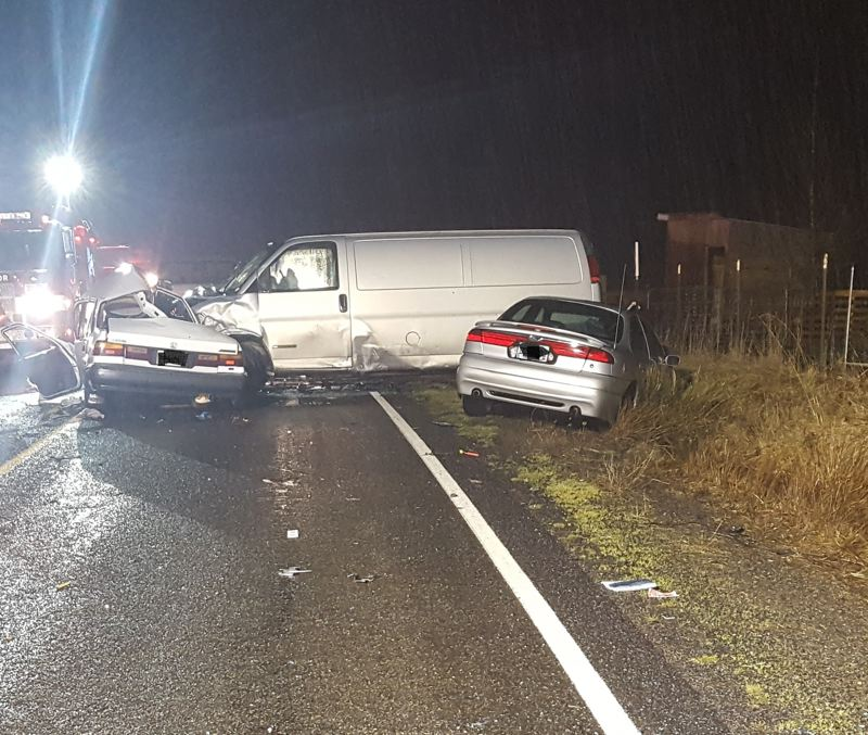 OSP PHOTO - Oregon State Police released this photo of a fatal crash in rural Clackamas County.