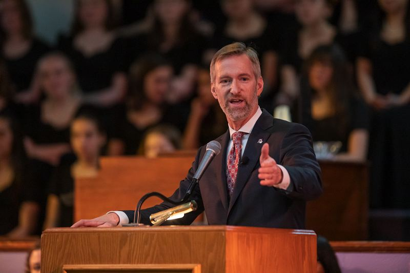 TRIBUNE PHOTO: JON HOUSE - Portland mayor Ted Wheeler delivers a high energy speech during the Drum Major Celebration at the Vancouver Avenue First Baptist Church.