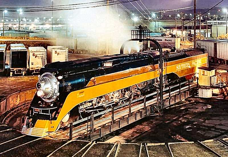 COURTESY OF DOYLE MCCORMACK - The famous and historic Portland-owned Southern Pacific 4449 steam locomotive, as it once sat on the turntable at the Union Pacific Brooklyn Yards former roundhouse. The fully-restored locomotive is now housed in the Oregon Rail Heritage Center, where the same turntable will be reinstalled.