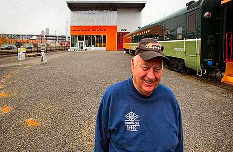 JAIME VALDEZ - Oregon Rail Heritage Center President Doyle McCormack stands where orange paint on the ground marks the location where the 95-year-old train turntable from the Brooklyn Yard will be installed next to the museum.