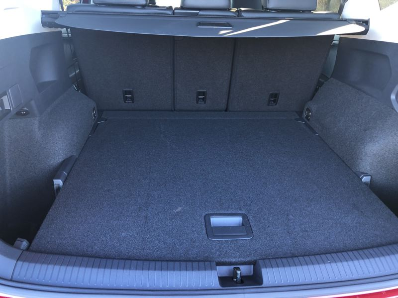 PORTLAND TRIBUNE: JEFF ZURSCHMEIDE - The 2019 VW Tiguan is longer than most other compact crossovers, and it uses the extra room for a third row of seats, which can be folded down to increase cargo space if they are not needed.