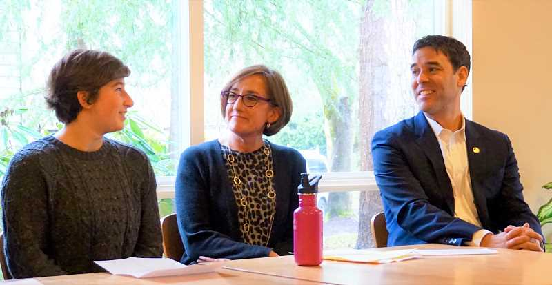 REVIEW PHOTO: CLAIRE HOLLEY - Lake Oswego High School student Penelope Spurr confers with state Rep. Andrea Salinas and state Sen. Rob Wagner during Sunday's news conference about SB 501.