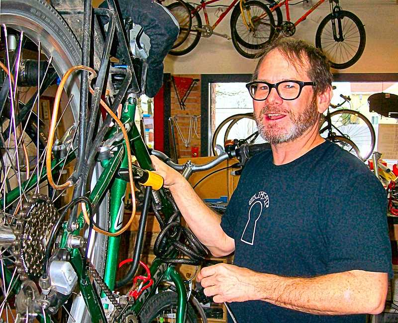 RITA A. LEONARD - Tom Martin is the new owner of the bicycle repair shop next to Brooklyn Pharmacy, on Milwaukie Avenue, just south of Powell.