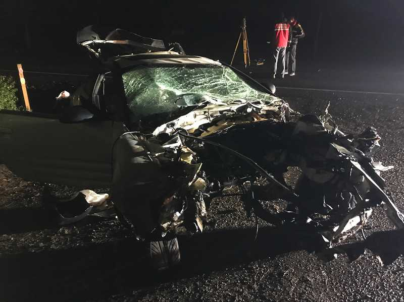 COURTESY WCSO - A passenger in this Mitsubishi Eclipse was killed after he was thrown from the vehicle early Tuesday morning.