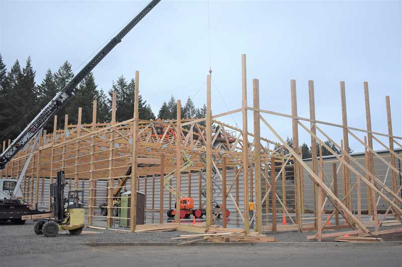 ESTACADA NEWS PHOTO: EMILY LINDSTRAND - Locke Buildings is creating a structure on Veterans Boulevard for Working Concepts.
