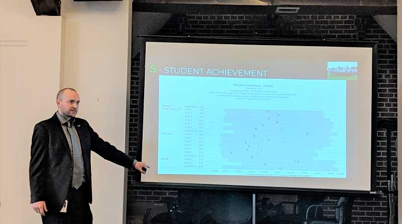ESTACADA NEWS PHOTO: EMILY LINDSTRAND - Estacada School District Superintendent Ryan Carpenter gives an update on local schools during a meeting of the Estacada Chamber of Commerce on Thursday, Jan. 17.