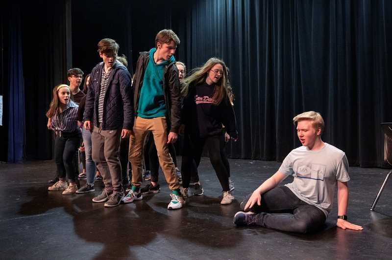 SPOKESMAN PHOTO: JONATHAN HOUSE - Members of Wilsonville Highs Thespian Troupe rehearse for their upcoming Night on Broadway performance.
