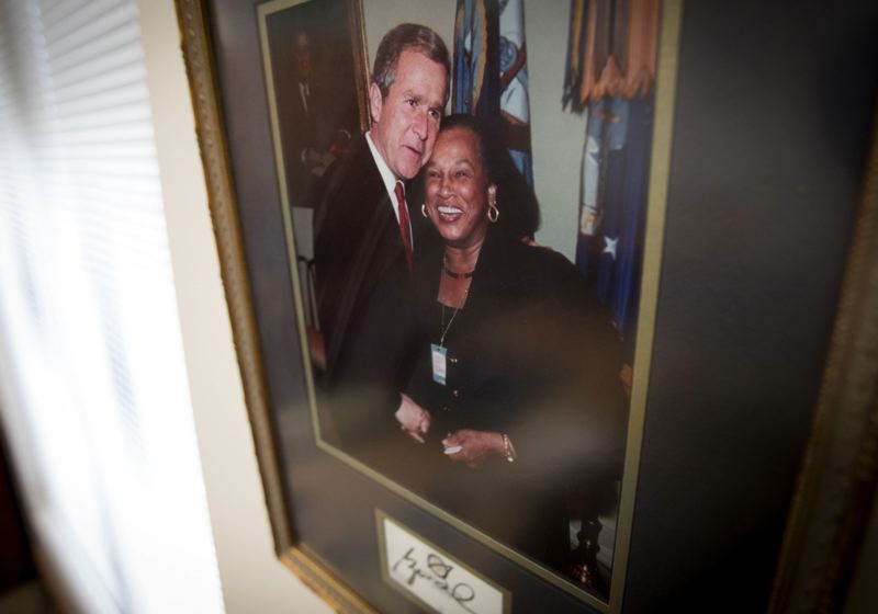 PAMPLIN MEDIA GROUP: JAIME VALDEZ - Among Sen. Jackie Winters' photographs is a shot of her with President George W. Bush.